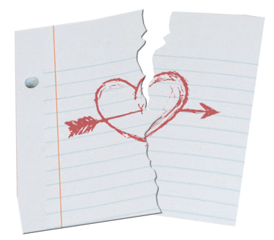 a paper heart torn in half