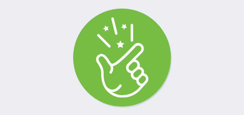 icon of hand snapping with sound portrayed as lines and stars convenient registration software