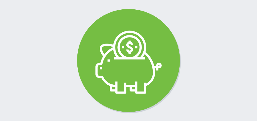 piggy bank icon with coin falling in on green dot registration software